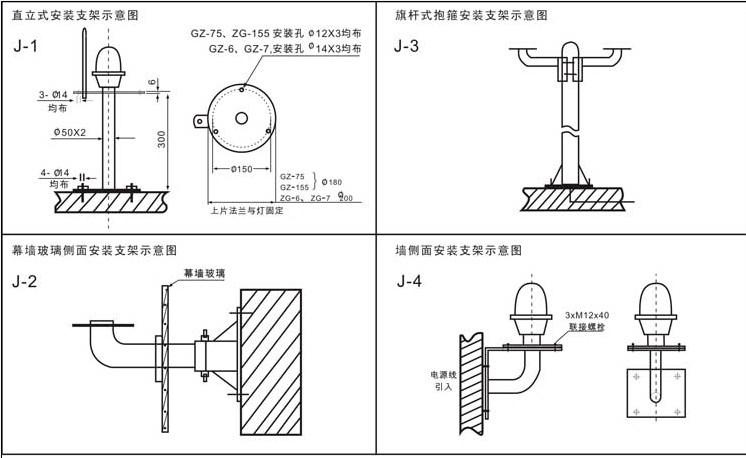 航空障碍灯支架安装平面图
